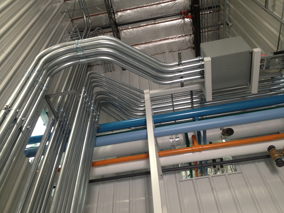 Various size EMT pipe runs from MCC